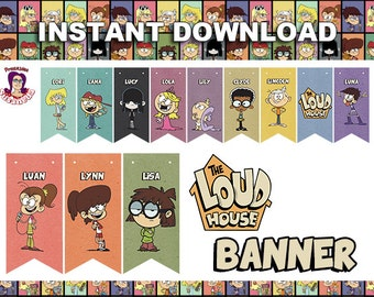THE LOUD HOUSE Birthday Banner Printable in English. Instant download! The Loud House Birthday Decoration,  Printable kit, Ready to Print