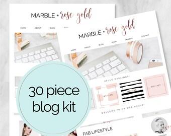 30 Piece Web / Blog Kit / Branding Kit / Blogger Kit / Social Buttons / Homepage Tabs / Rose Gold / Marble / Blog Design Kit / Blog Graphics