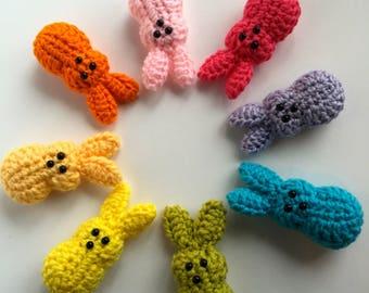 Amigurumi Rabbit Peeps with Carrot Basket, Crochet Peep, Easter Basket, 3 Peeps and Basket