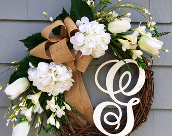 New Home Gift, Monogram Wreath, Spring Wreath, Summer Wreath, Spring Wreath with Monogram, Mother's Day Gift, Housewarming Gift