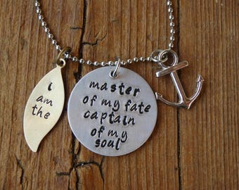 Hand Stamped Charm Necklace, Invictus Poem I am the master of my fate captain of my soul, Inspirational Necklace