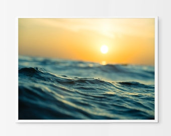 Ocean print, ocean photography, sunset print photo instant download, printable wall art, seascape photo gallery