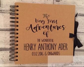 Baby memory book, new baby scrap book, personalised keepsake book