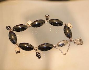 Hematite & silver bracelet, hematite bracelet, silver charm bracelet, silver cube bracelet, black bracelet, sterling silver bracelet