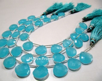 AAA Quality Aqua blue Chalcedony Briolette Beads / Heart Shape Top Drilled Beads Size 14mm / Hydro Quartz Faceted Beads /8inch Strand
