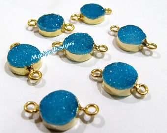 Top Quality Druzy Connector 24 Kt Gold Electroplated , Natural Blue Color Drusy Round Connectors , 10mm Double Loop Bezel Sold per Piece.