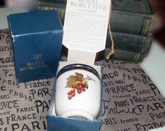 Vintage (c.1970s) Royal Worcester Evesham egg coddler with metal lid and original box and packaging with instructions. Fruit imagery.