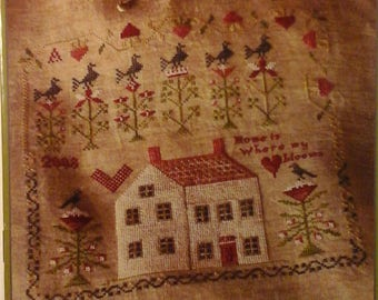 """OOP HTF Blackbird Designs Loose Feathers 29 """"Where My Heart Blooms"""" Cross Stitch Pattern"""