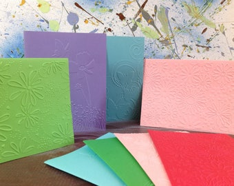 "Handmade Floral note card set, blank cards, set of 8, blank note cards, 4.25""x5.5"""