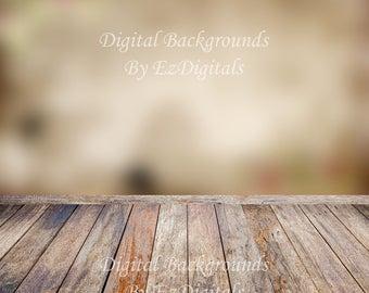 Brown wood floor and tan beige bokeh wall digital background backdrop