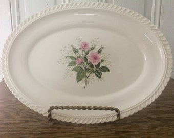 "Harker Pottery Royal Gardoon 13"" Oval Serving Platter Pink Rose Spray"