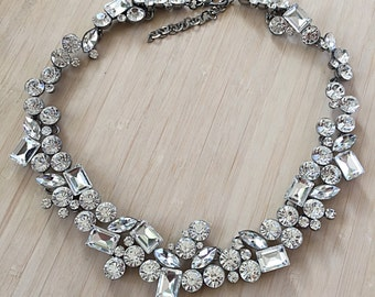 Veronica Crystal Necklace. Statement Bib Necklace with Sparkly Glass Crystals. Bridal Necklace.