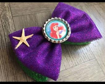 Little mermaid bow, little mermaid hair bow, Ariel bow, Ariel hair bow, hair bows, bows, glitter bow, glitter hair bows, starfish