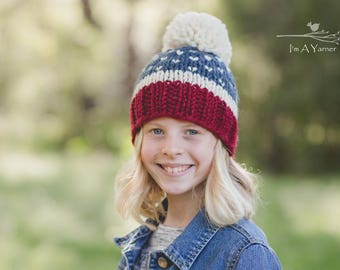 Red White and Blue Hat, USA Outfit, Team Beanie, USA Flag Hat, American Flag, Pom Pom Hat, 4th of July, 2018 Winter Sports, Ski Hat,