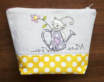 Cute cat and watering can applique Makeup Bag machine free motion embroidery, cute kitten, cat notions bag, Cosmetic case, Pencil case,