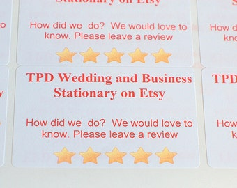 Etsy review labels, customised business labels, sticky labels, printed labels, adhesive review labels, business sticky labels