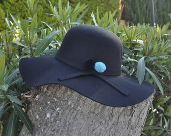 Black Hat Black and turquoise green PomPoms