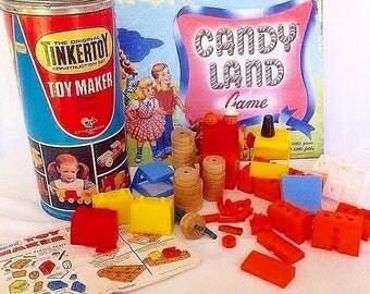 Vintage Tinker Toys 1979 Toy Maker Construction Set 71 pieces Original Box Retro kid