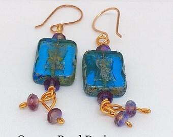 Boho Copper Blue Czech Dangle Earrings #queenebead