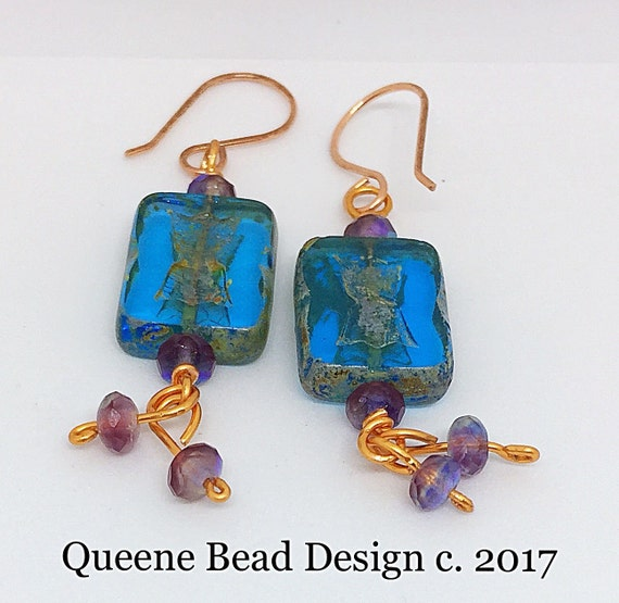 Boho Copper Blue Czech Dangle Earrings #queenebead