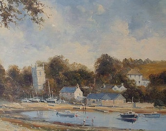 Richard Blowey Original Oil Painting - Coastal Scene With Church