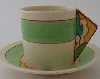 Clarice Cliff Bizarre Fantasque Conical Cup And Saucer Duo - Stroud - Art Deco