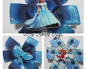 Baby/Toddler/Girl/Adult 3.5 Inch Pinwheel Hair Bows on Lined Alligator Clip - Cinderella
