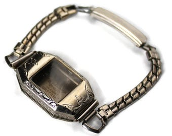 14K Art Deco Watch Case with Band, Gold Filled Ladies Watch Case