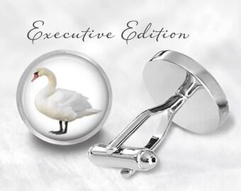 Swan Cufflinks - Swan Cuff Links - Bird Cufflink - White Swan Wedding - Trumpeter Swan (Pair) Lifetime Guarantee (S0109)