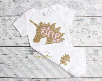 Unicorn First Birthday Outfit - First Birthday - Unicorns - 1st Birthday - Glitter - Pink Silver Birthday - One - Cake Smash - Photo Prop