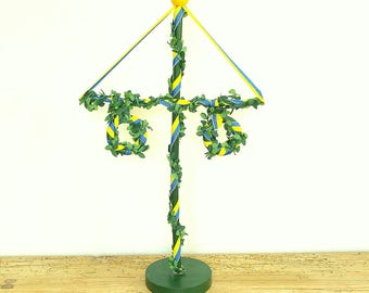 Vintage Swedish Maypole wood.Midsummer celebration.Swedish tradition.Folk style home decor.Sweden tradition midsummer.Green Blue Yellow