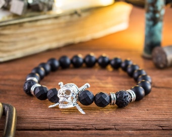 8mm - Matte black onyx beaded stretchy bracelet with silver pirate skull , custom made lava bracelet, gemstone bracelet, mens bracelet