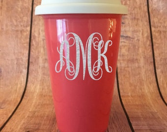 Monogrammed Ceramic Coral Double Wall Coffee or Hot Beverage Cup, Silicone Lid, Custom, Personalized, Coffee Cup
