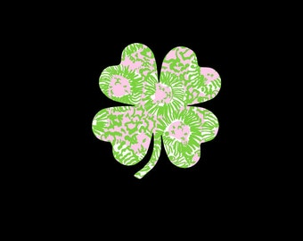 Four Leaf Clovers and Shamrocks are perfect for the Irish lover in you!  Decorate your world with a preppy print vinyl shamrock decal today!