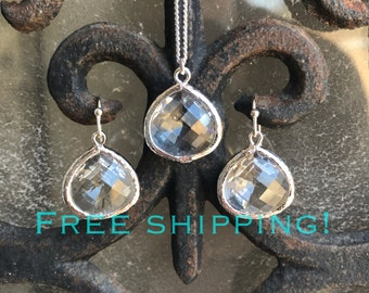 SHIPS FREE, Bridesmaid gift, Necklace and Earring set, bridesmaid jewelry set, everyday jewelry sets, jewelry gifts
