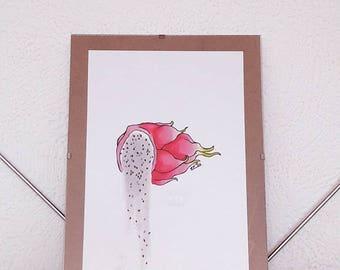 Dragon Fruit Illustration, framed - pitaya illustration, framed kitchen wall art, tropical fruit illustration, dragon fruit half