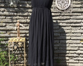 Black Maxi Dress * Size Small * Romantic Bohemian