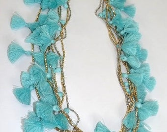 """Tassel necklace/metal beads necklace/ Metal tiny beads & Tassel 36"""" Necklace /Light blue Necklace/Gold and Silver plate"""