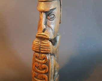 Asmat ancestral Male Figure Sitting  Papua New Guinea, New Guinea Tribal Artifact Carving Asmat, Ancestor Figure (Korwar)