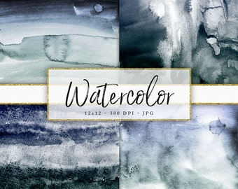 12x12 High Resolution Digital Paper 300 DPI Real Watercolor Texture  Pretty Watercolor Background Shades of Blue Green Art Paper Real Paint