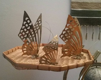 Brass Butterfly Decor or Wall Art, Vintage Brass, Boho inspired home, Hollywood Regency.