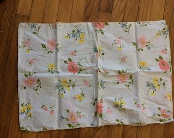 Standard size pillowcase vintage floral design; sweet, spring, flowers, bedding.