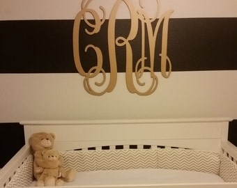 Painted Wooden Monogram - Wooden Initials - Wedding Gift - Housewarming Gift - Personalized Gift - Nursery Monogram - Monogram Wall Hanging