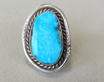 Turquoise Silver Southwestern Ring Size 5.5