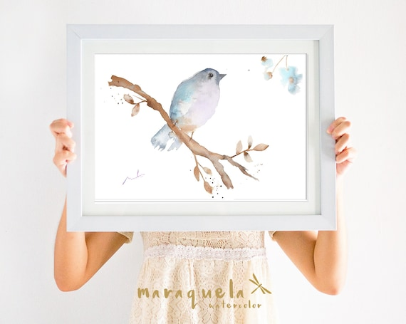 BIRD II  illustration Watercolor Collection, art print birds, animals, nature, elegant birds,light blue hues,home decor,sweet birds painting