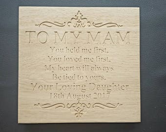 To My Mum Freestanding Oak Plaque Sign - Wedding Thank you Mother of the Bride Gift - can customise