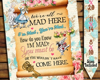 Alice in Wonderland Sign - Alice in Wonderland Poster - Instant Download - Alice in Wonderland Decorations - Printable Sign - Tea Party