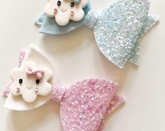 Cute felt/glitter cloud hair bow - alligator clip - pink or blue