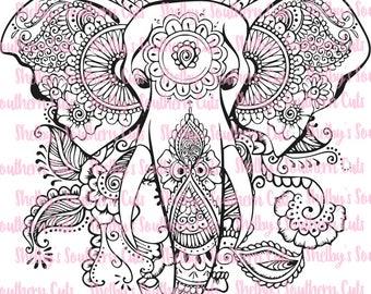 Floral Elephant - SVG EPS DXF