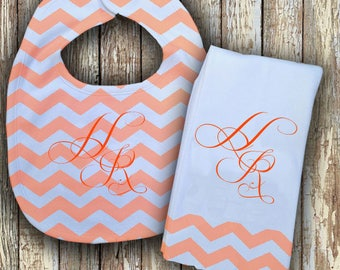 Prissy Monogrammed Baby Bib with matching Burp Cloth Set (Peach)